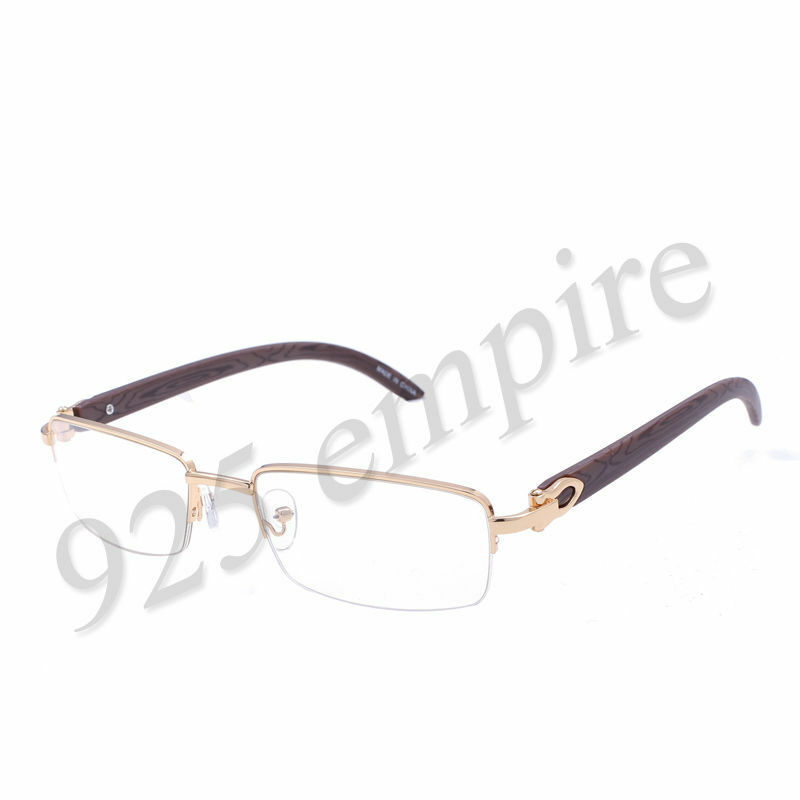 8028 Clear Lens Gold Metal Wood Effect Frames Eye Glasses ...