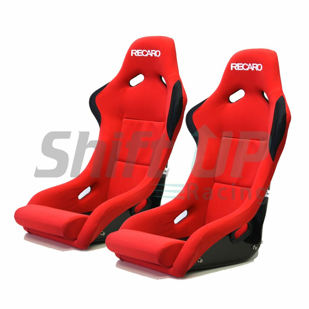 recaro spg pole position red pair bucket racing seats jdm. Black Bedroom Furniture Sets. Home Design Ideas