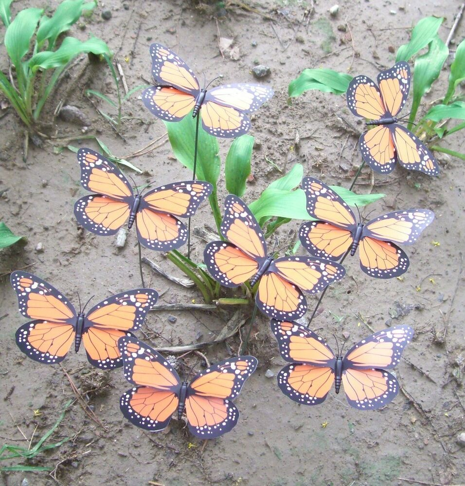 14 pcs monarch butterfly garden stake sign plant yard for Butterfly lawn decorations