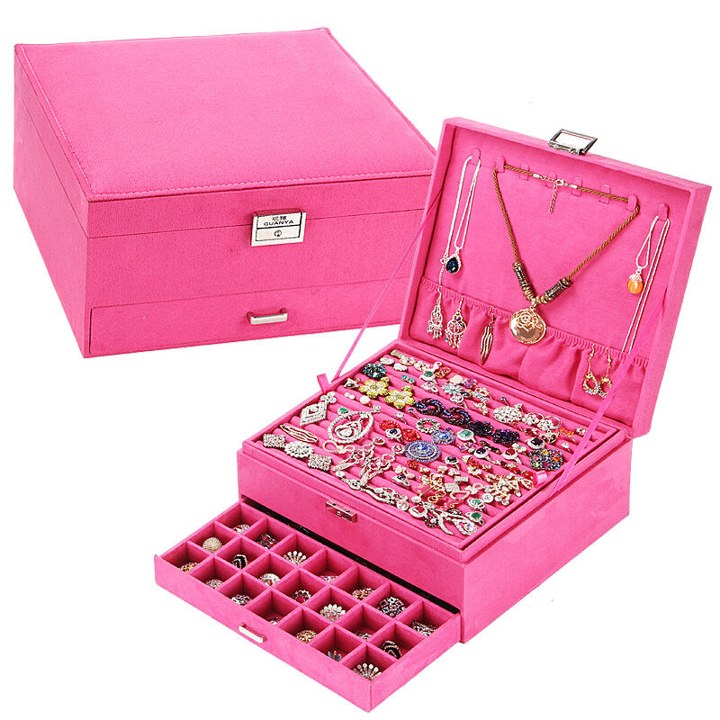 Large Jewelry Box Ring Earring Necklace Organize Storage