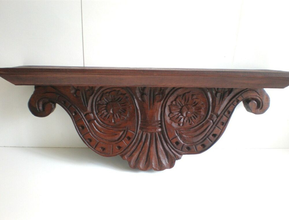 Rustic wall shelf console federation style balinese wood
