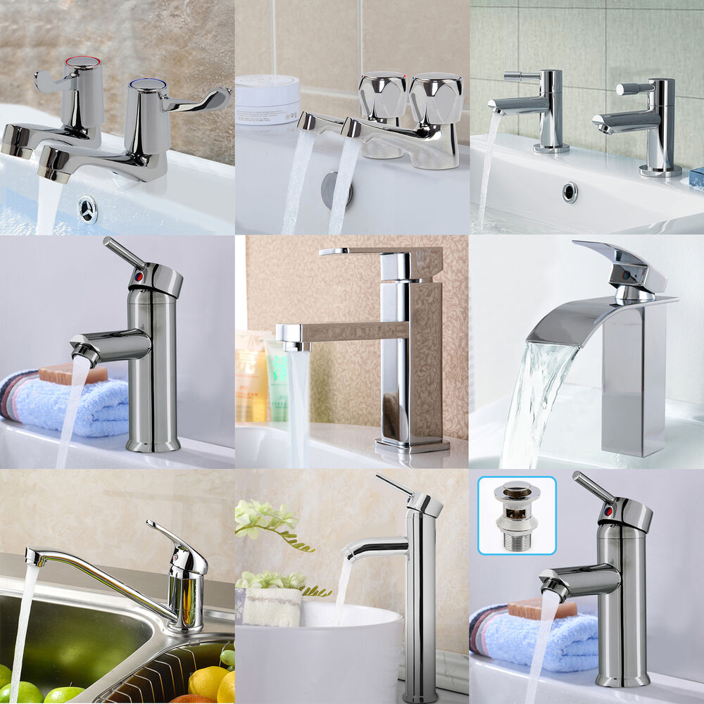 Modern Bathroom Sink Taps Bath Tap Filler Chrome Low ...