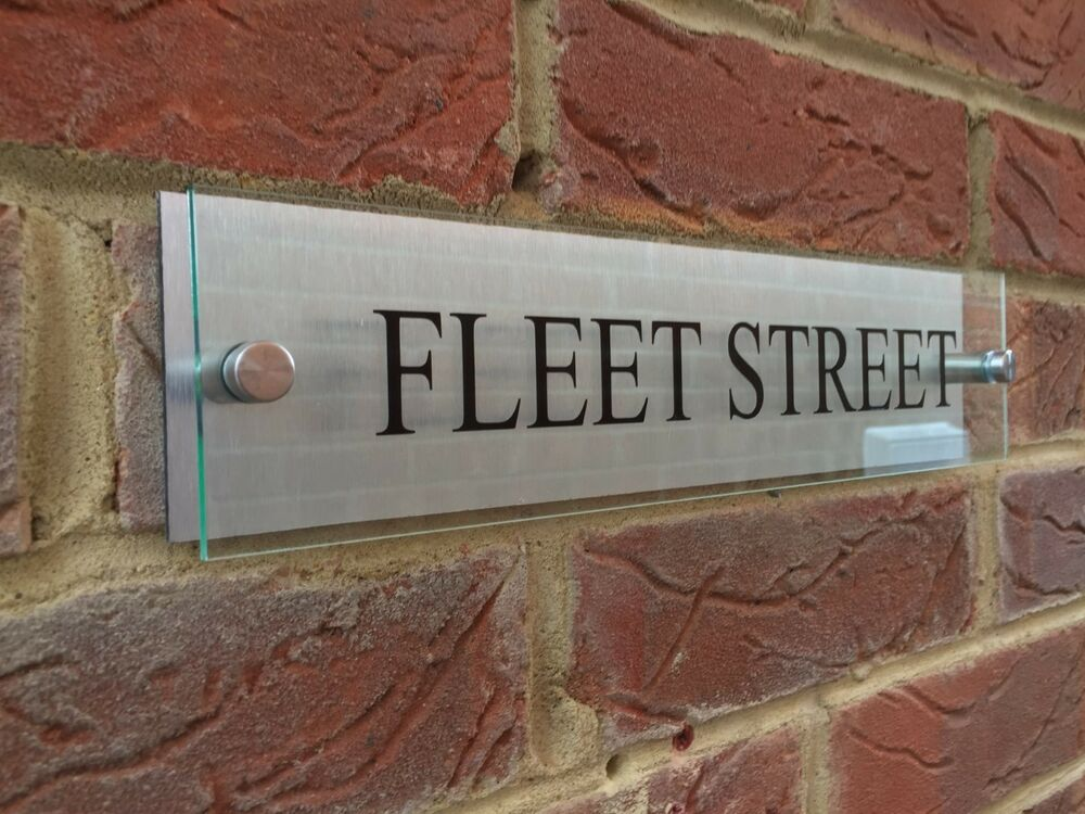 Modern house sign plaque business street name glass effect for Contemporary house names