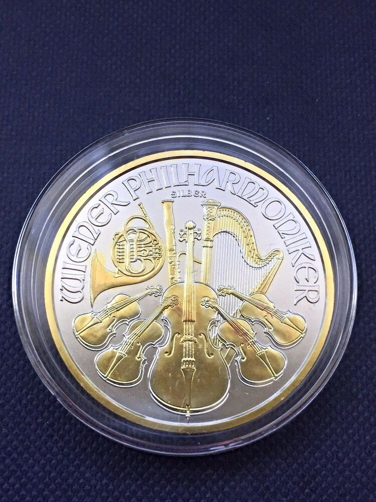 2016 austria 1 oz silver vienna philharmonic 1 5 euro 24k gold gilded bu coin ebay. Black Bedroom Furniture Sets. Home Design Ideas