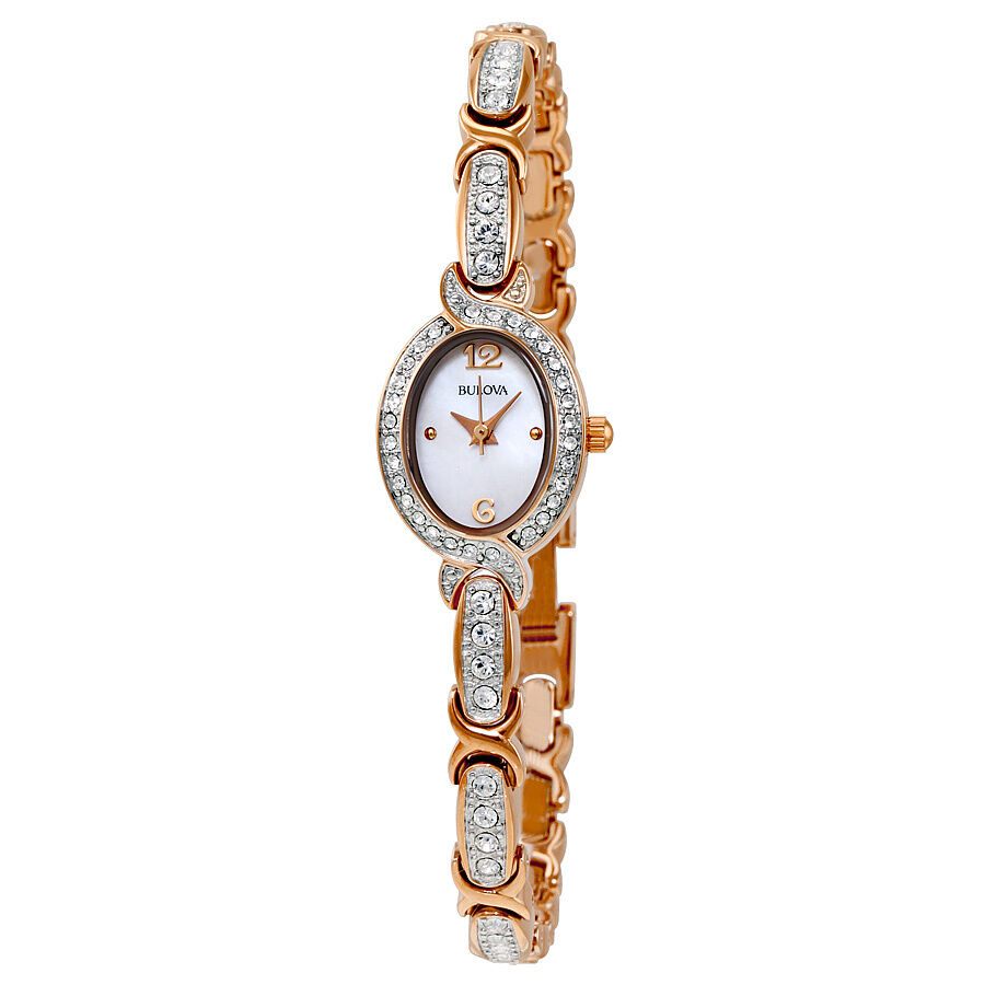 Bulova women 39 s 98l200 crystal collection rose gold quartz bracelet dress watch 42429511293 ebay for Crystal watches