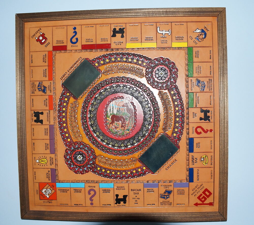 Leather Monopoly Board Hand Tooled And Painted For A