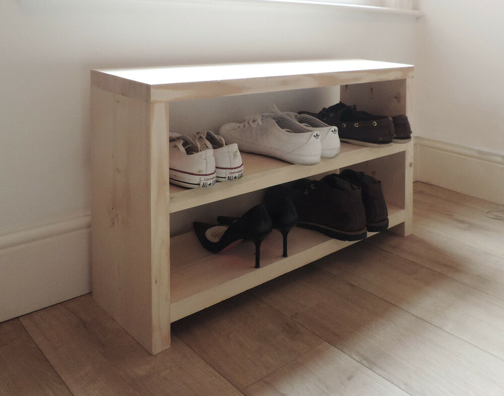 Solid Wooden Shoe Rack Storage Scaffold Board Modern Furniture Upcycled Bench Ebay