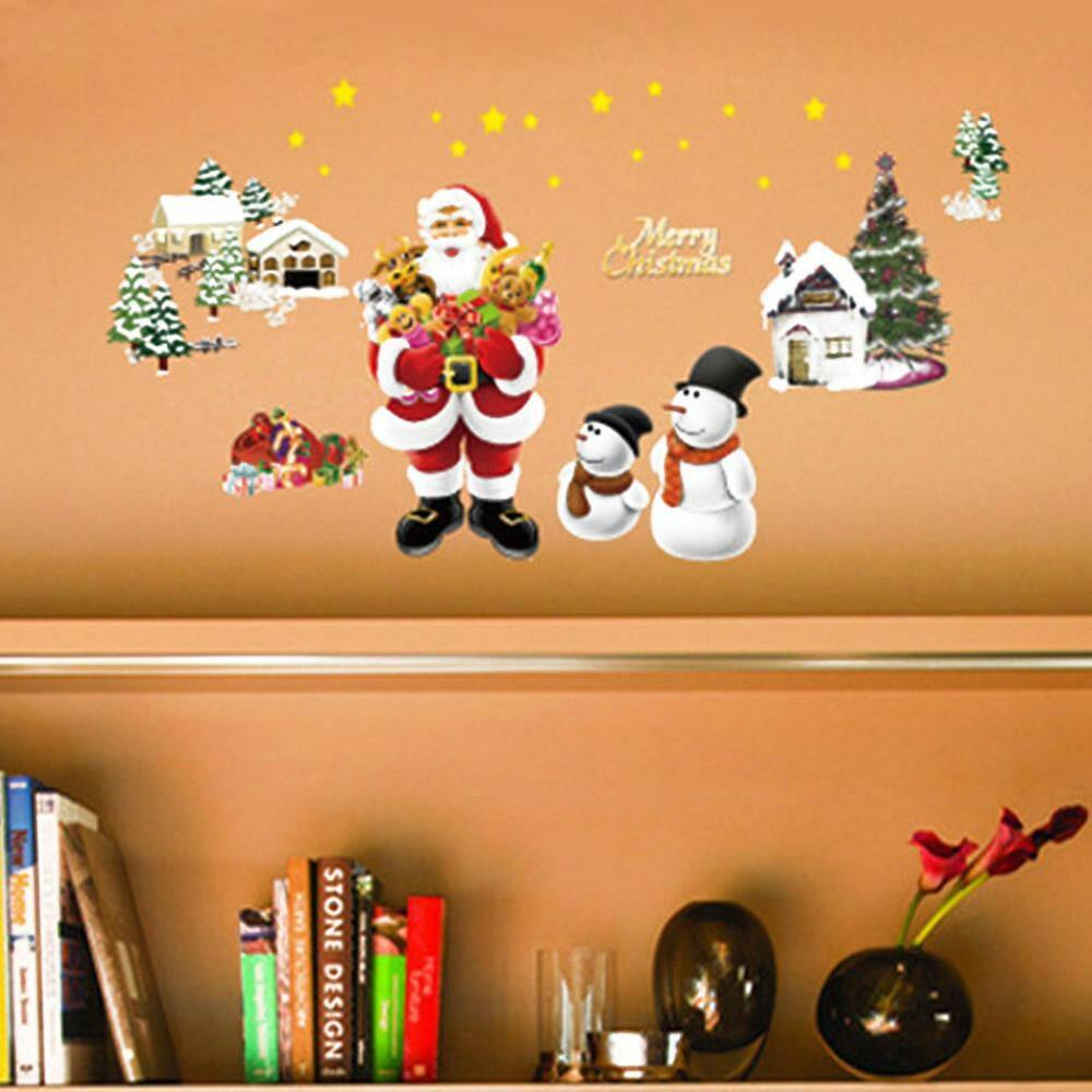 Merry christmas decoration santa claus snowman removable for Christmas wall mural plastic