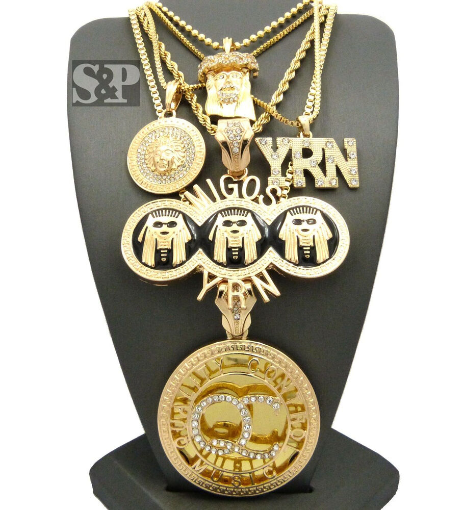 Hip Hop Celebrity Iced Out Qc Migos Yrn Medusa Jesus Pendant 5 Necklace Set Ebay