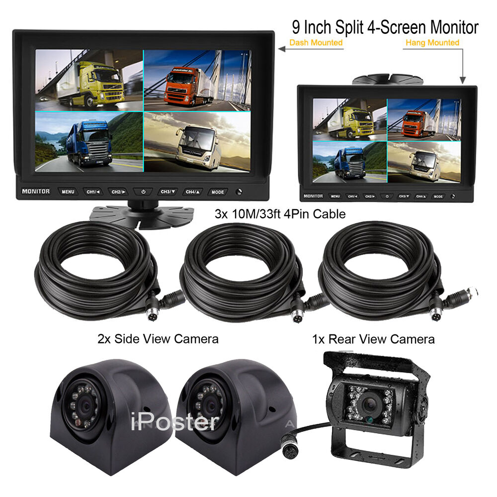 "9"" Split Screen CAR REAR VIEW CAMERA SYSTEM REVERSING"