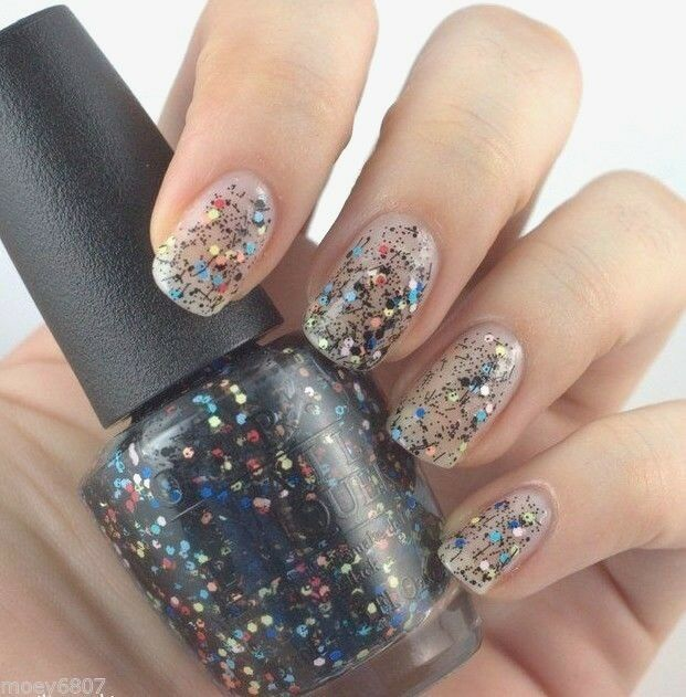 Glitter Nail Polish Buy: OPI Peanuts *TO BE OR NOT TO BEAGLE* Colorful /Black