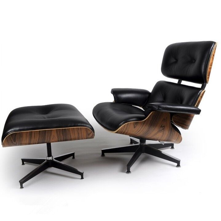 Eames Style Palisander Lounge Chair And Ottoman Set In Black Top Grain Leathe