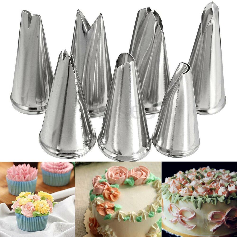 7pcs Stainless Steel Leaf Icing Piping Nozzles Cake Decor