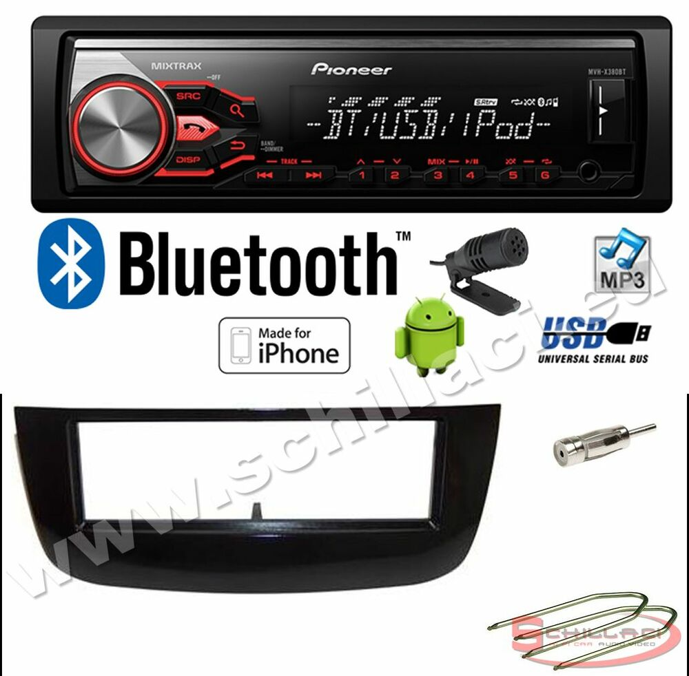 pioneer mvh x390bt autoradio usb bluetooth kit montaggio per fiat punto evo ebay. Black Bedroom Furniture Sets. Home Design Ideas