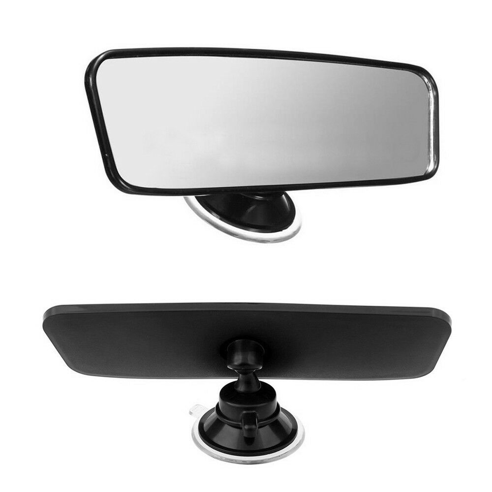 1p black car truck wide flat interior rear view mirror suction stick universal ebay. Black Bedroom Furniture Sets. Home Design Ideas