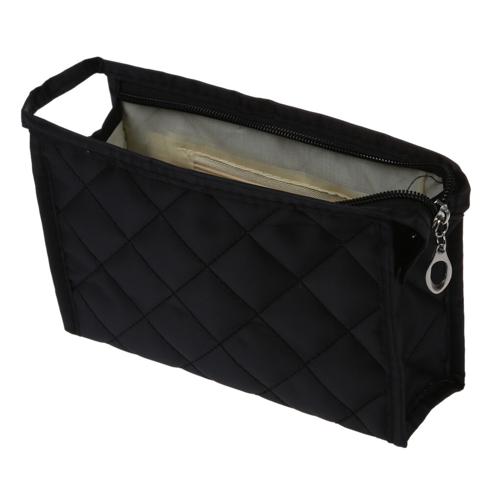 Portable Black Girls Grid Pattern Cosmetic Make Up Small