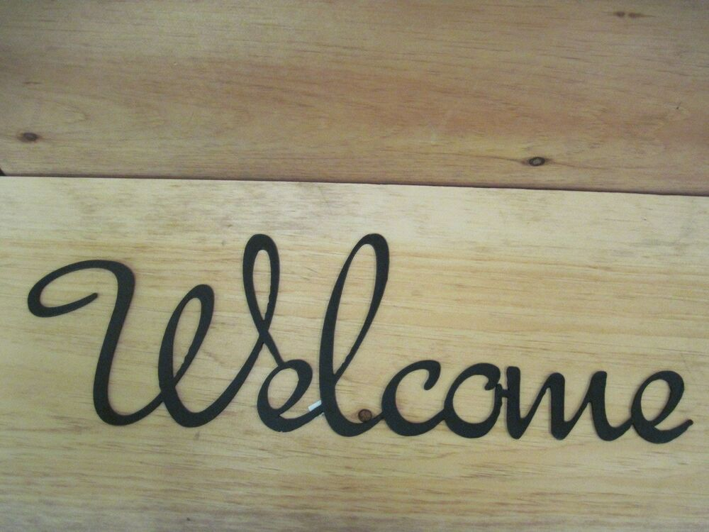 Welcome-Black Wrought Iron Wall Art Metal Home Decor