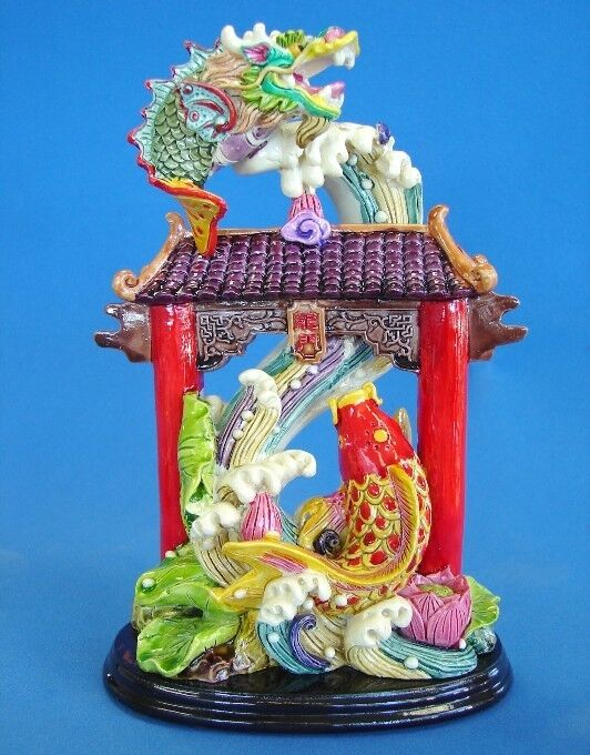 Feng shui carp fish statue jumping over the dragon gate ebay for Gate color feng shui