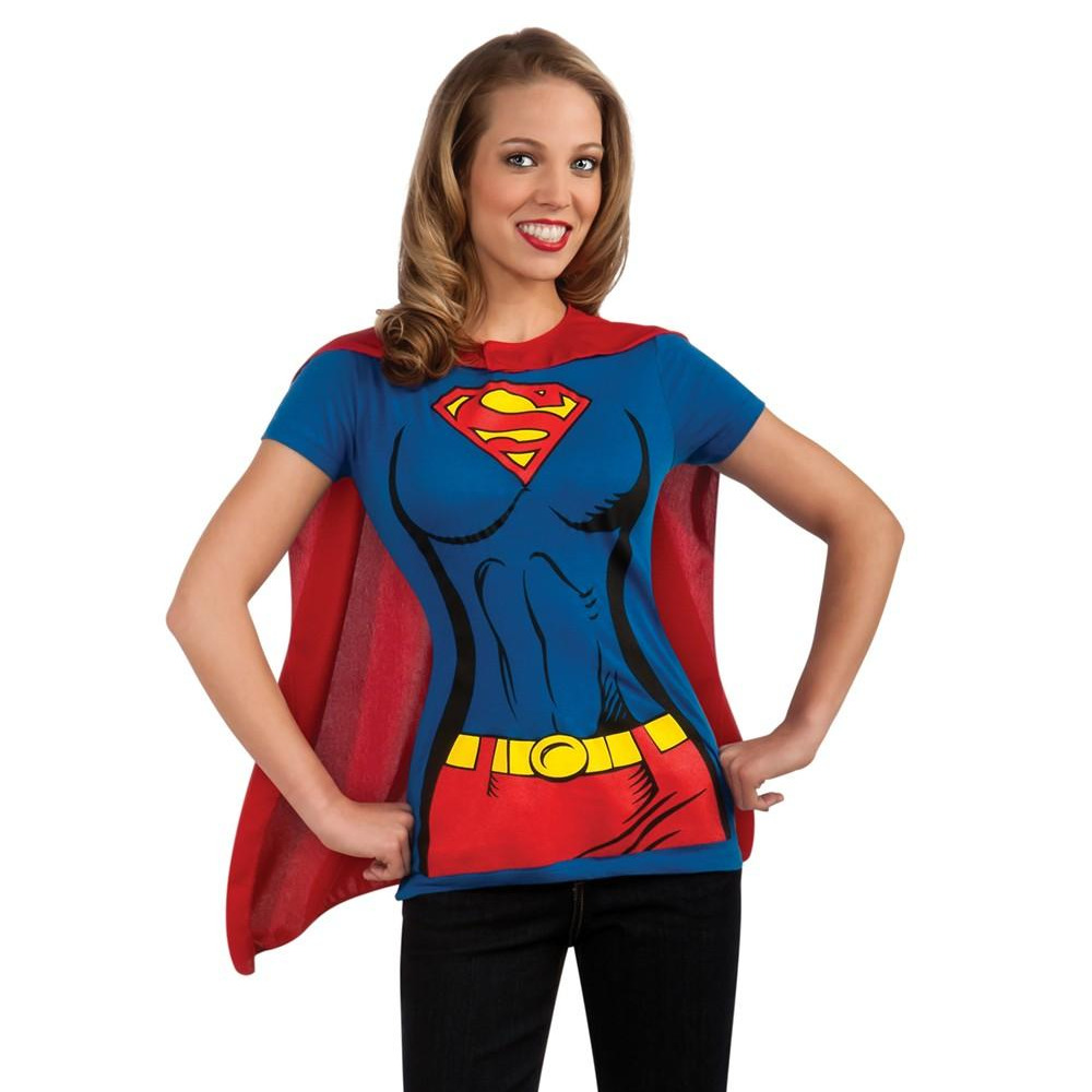 f4346664 Details about Supergirl Womens T-Shirt & Cape Costume Kit Superwoman  Superman Man Of Steel