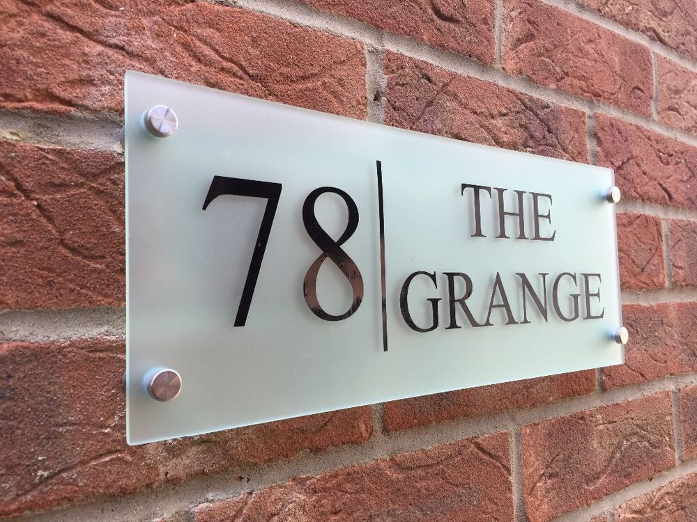 Modern house sign plaque door number street glass effect for Modern house number plaques