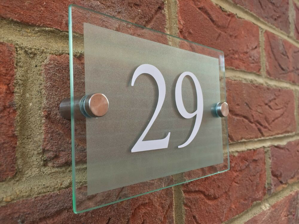 Modern house hotel sign plaque white door number glass for Modern house number plaques