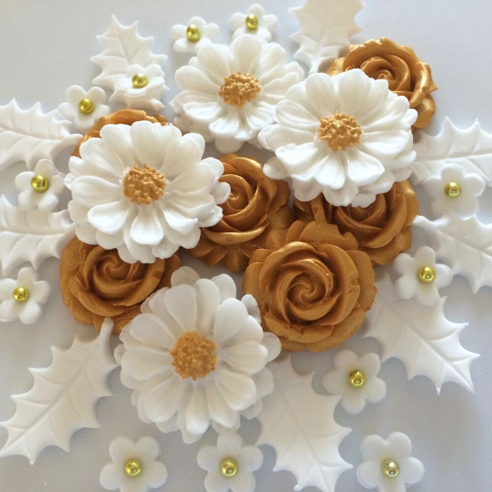 Gold Wedding Cake Decorations: WHITE GOLD CHRISTMAS BOUQUET Edible Sugar Paste Roses Cake