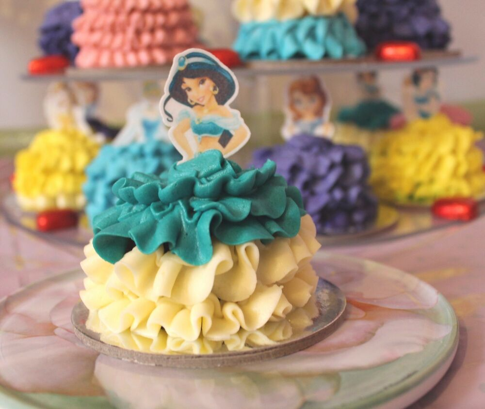 Jasmine disney princess half edible wafer cupcake cake for How to make edible cake decorations at home