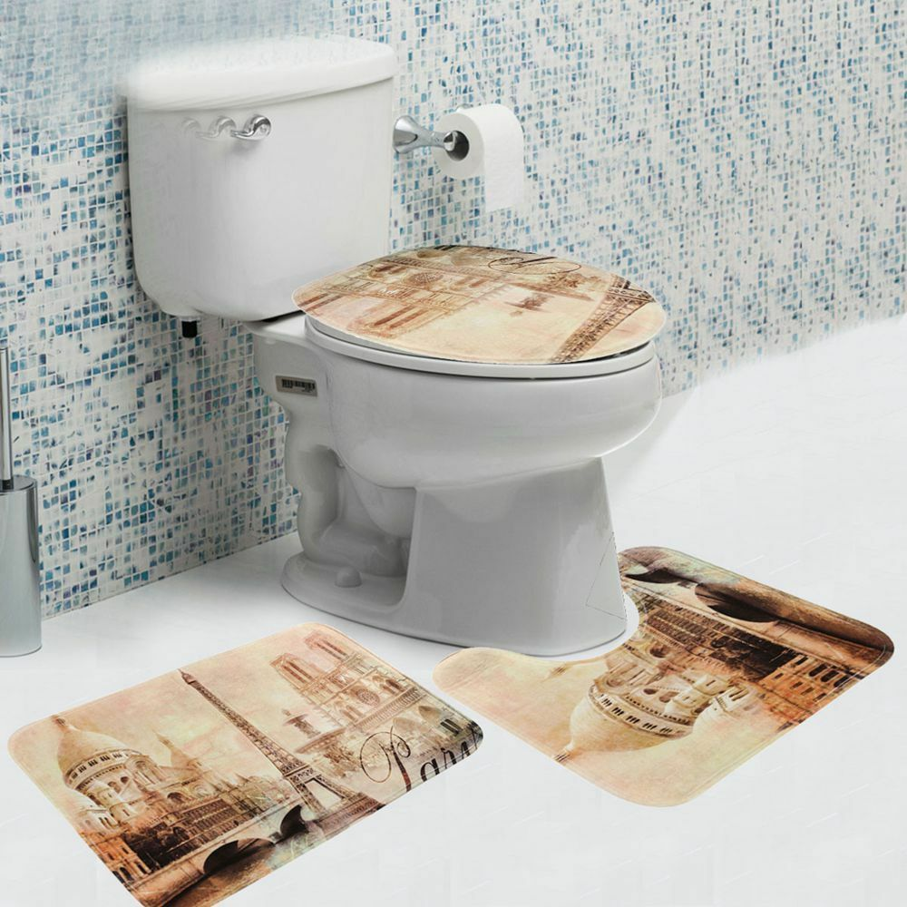 Carpet In A Bathroom: 3 Pcs Eiffel Tower Design Bathroom Carpet Pedestal Lid Mat