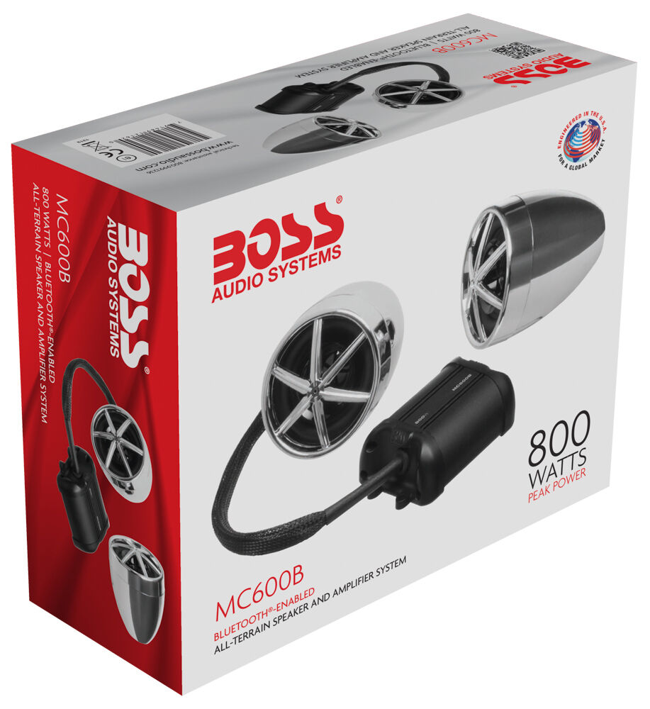 New Boss Mc600b Bluetooth Enabled Motorcycle Utv Speaker