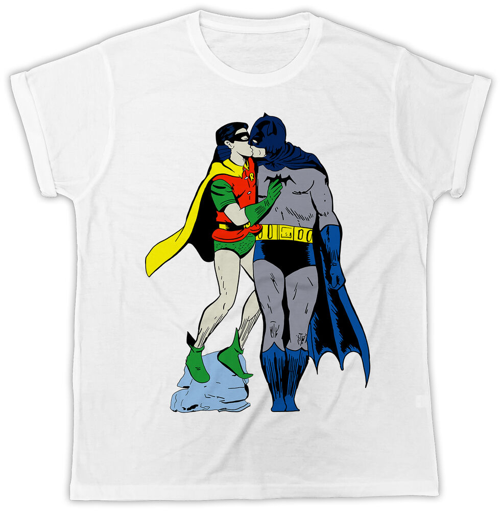 FUNNY BATMAN & ROBIN SUPERMAN KISSING TSHIRT GAY PRIDE ...
