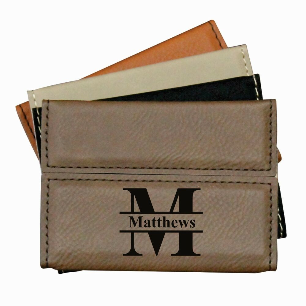 Custom leather business card case holder engraved office for Monogrammed leather business card holder