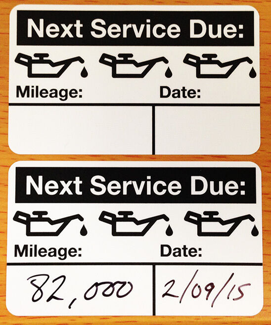oil change reminder stickers 500 count free sharpie with order ebay. Black Bedroom Furniture Sets. Home Design Ideas