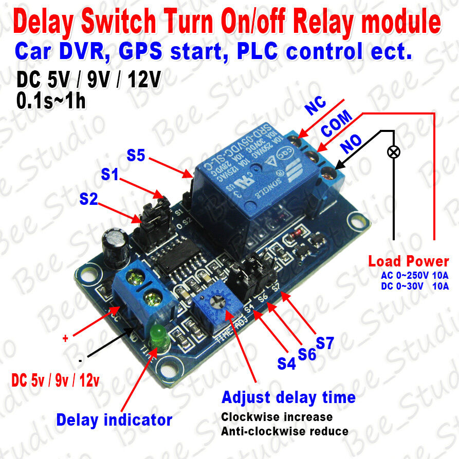 Dc 5v 9v 12v Adjustable Delay Timing Timer Relay Switch