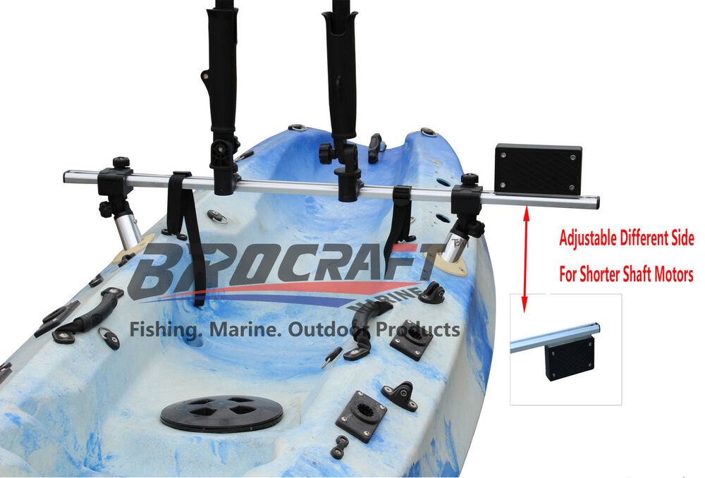 Brocraft fishing kayak trolling motor mount universal for Walmart fishing pole holder
