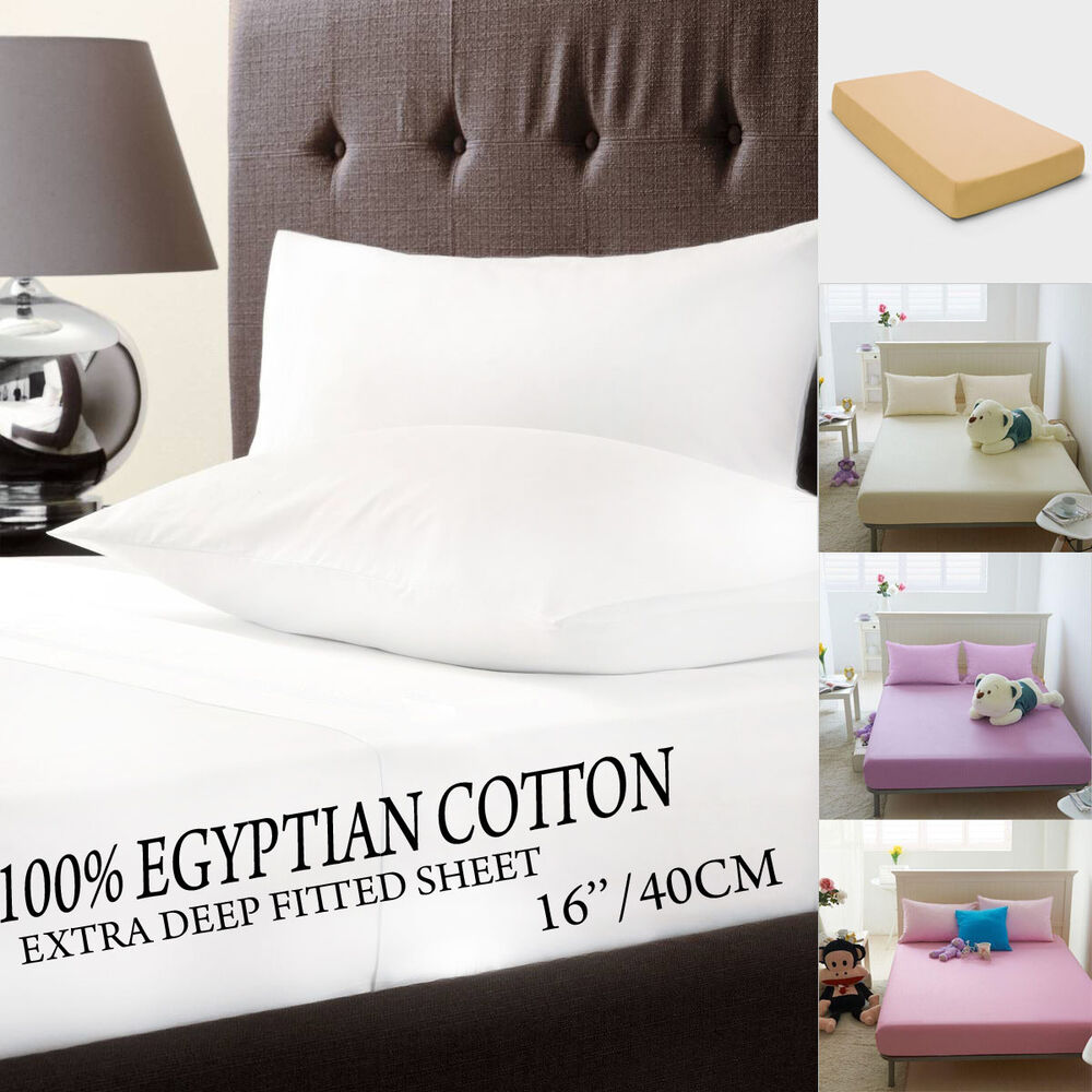 100 Egyptian Cotton Extra Deep 16 40cm Fitted Bed