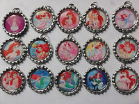 LITTLE MERMAID ARIEL FLATTENED BOTTLE CAP NECKLACE U CHOOSE #1 party favors