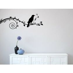 WALL - Songbird on Musical Branch - Wall Vinyl Decal by YYDCo.(60''w x 22''h)BLACK