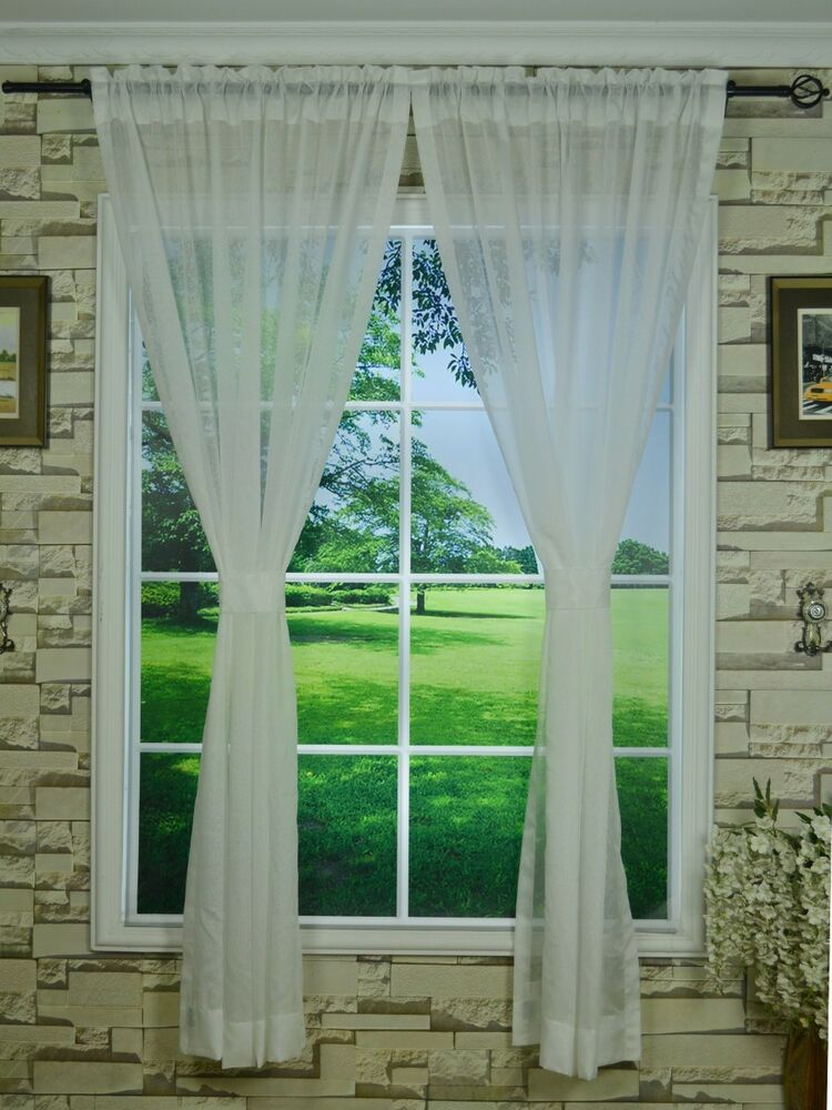 4 colors 120 x 100 extra wide and long rod pocket sheer curtains customizable ebay. Black Bedroom Furniture Sets. Home Design Ideas