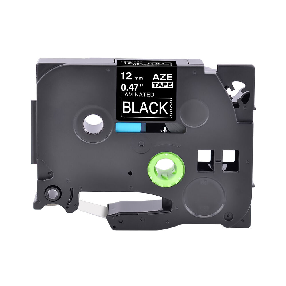 1pk 12mm label tape for brother p touch pt d400 ptd600 tz tze 335 white on black ebay. Black Bedroom Furniture Sets. Home Design Ideas
