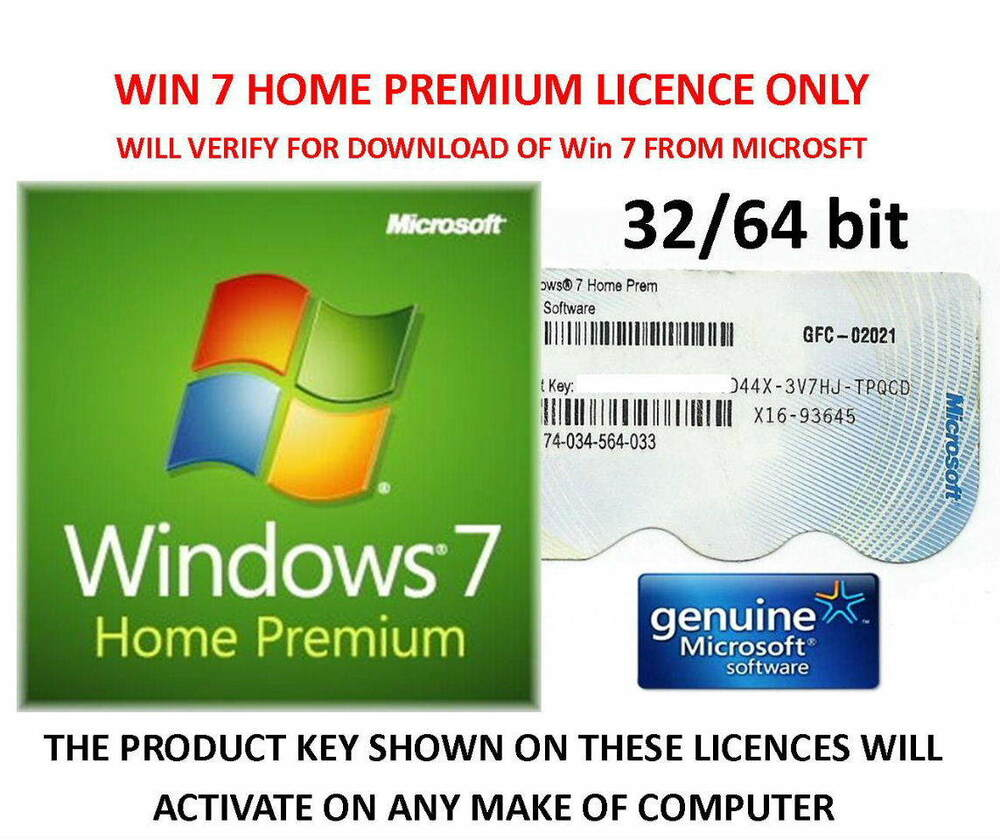 Windows 7 Home Premium 32 / 64bit Product Key Label ...