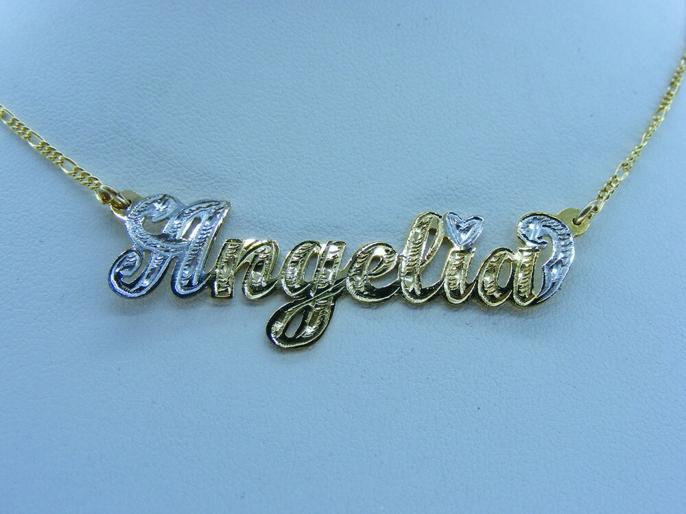 personalized 14k gold gp name plate chain necklace gift. Black Bedroom Furniture Sets. Home Design Ideas