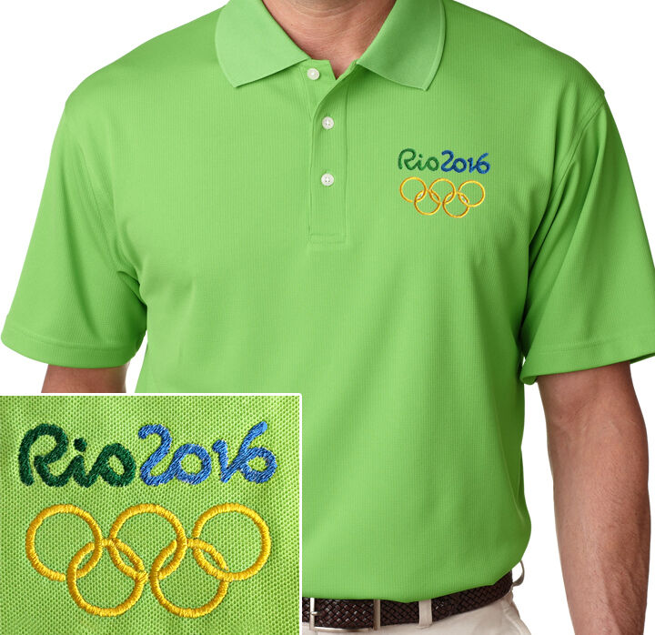 Rio olympics 2016 men 39 s embroidered polo shirt lime green for Mens lime green polo shirt