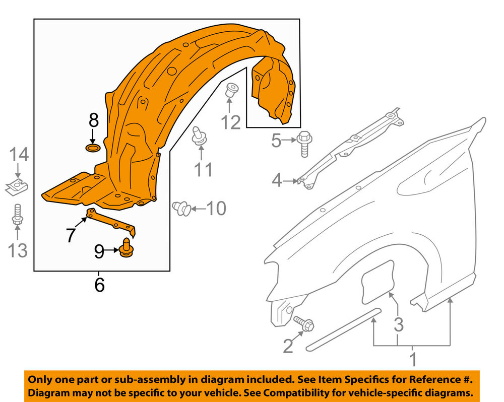 Subaru Oem 13 16 Brz Front Fender Liner Splash Shield Left Rear Axle Diagram 59110ca011 Ebay