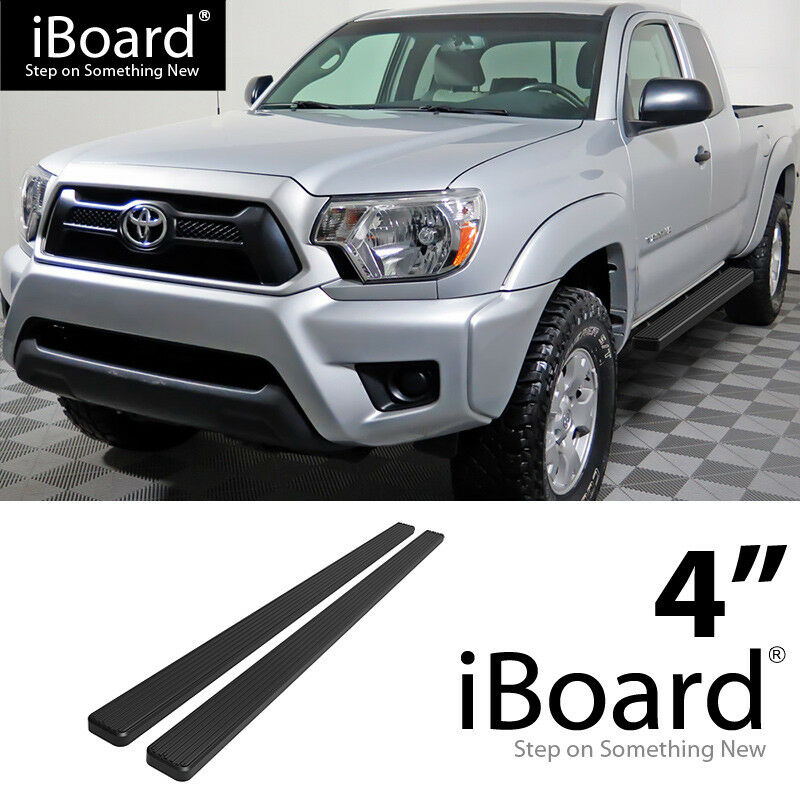 4 black eboard running boards for 05 17 toyota tacoma access extended cab ebay. Black Bedroom Furniture Sets. Home Design Ideas