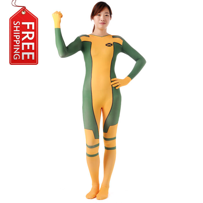 damen rogue kost m superheld zentai overall catsuit jumpsuit kleidung karneval ebay. Black Bedroom Furniture Sets. Home Design Ideas