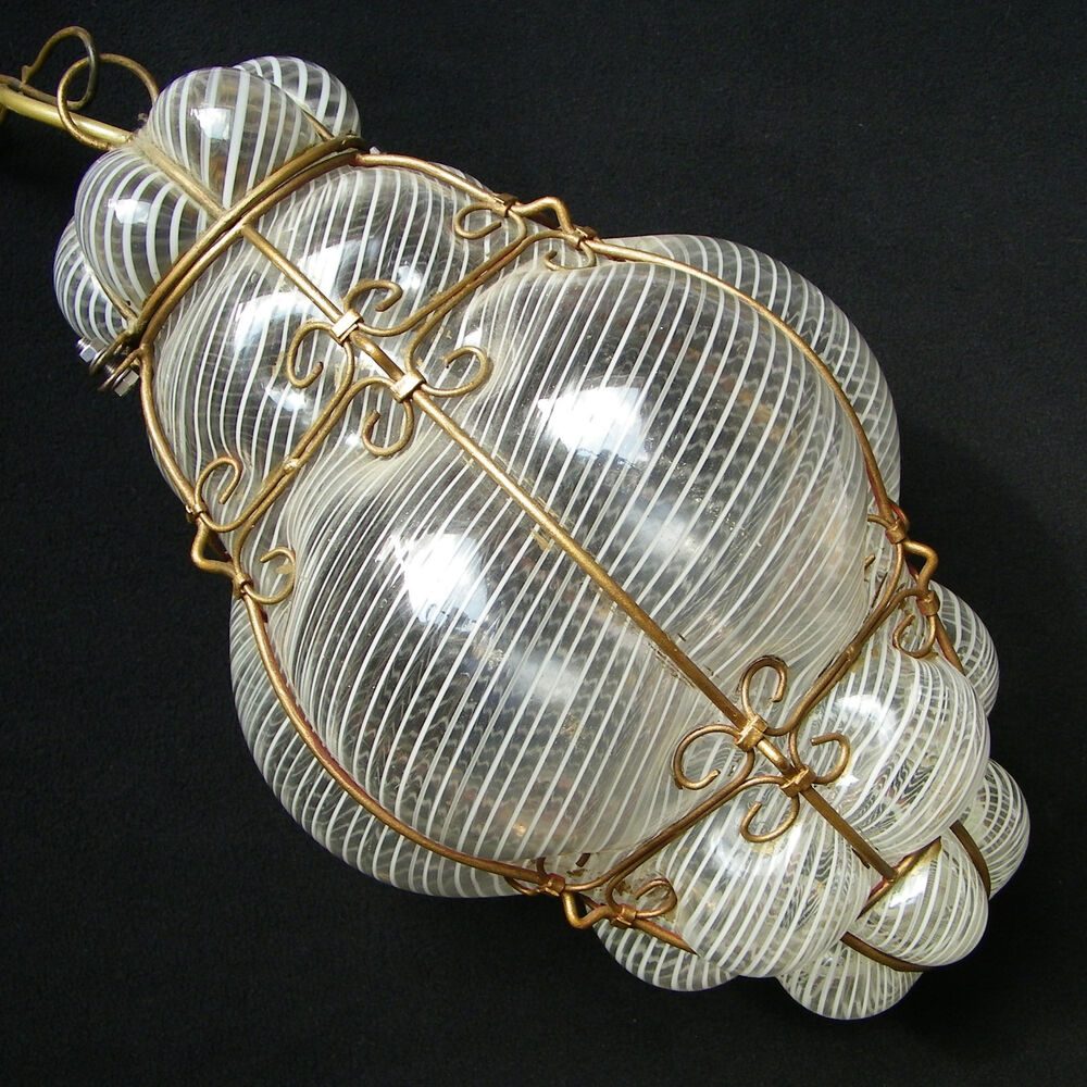 Vintage Murano Latticino Hand Blown Caged Glass Hanging