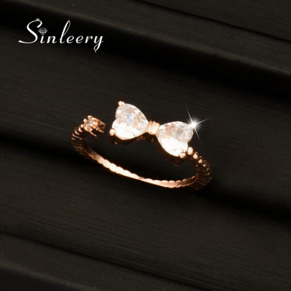 Cute Small Crystal Bow Rings For Women Adjustable Size 18K Rose/White Gold Jz458