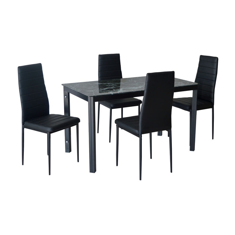Kitchen dining table and chairs set modern dining room for Glass top dining table sets
