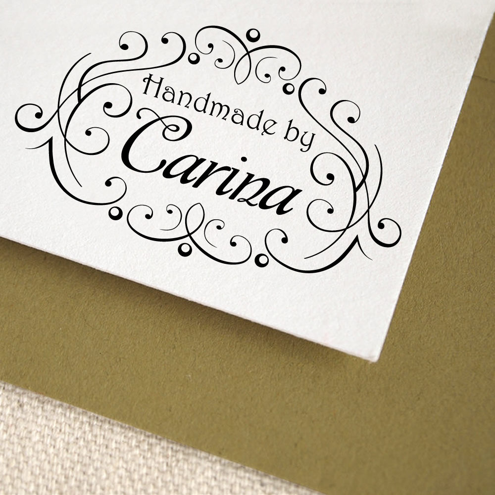 Personalized custom name handle mounted handmade created for Custom craft rubber stamps