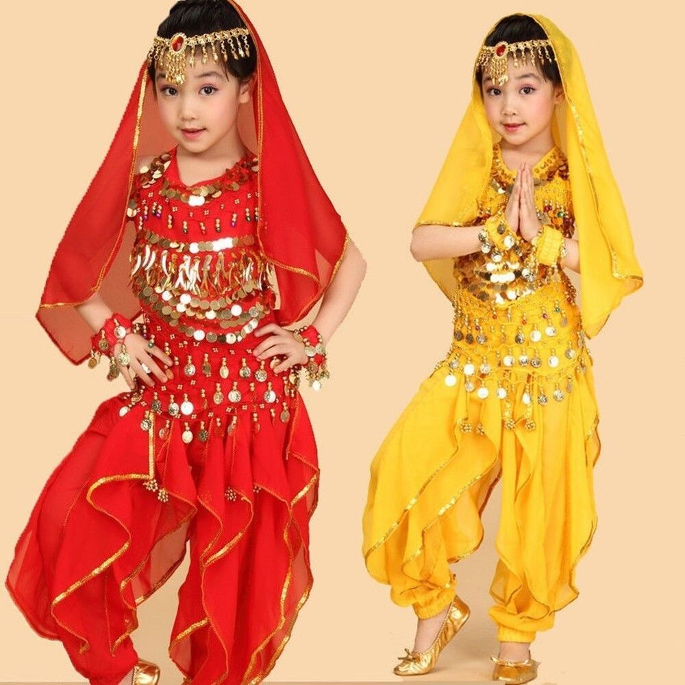 3b7a41267 Girls Kids Belly Dance Costume Outfit Top Pants Bollywood Halloween ...